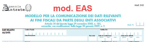 Modello EAS – trasmissione telematica